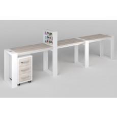 """Маникюрный стол с подставкой для лаков и тумбой """"Matrix"""" трехместный"""